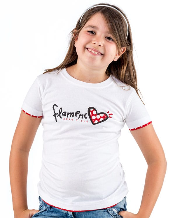 benegassi camiseta nina flamenco corazon fl1bln 1