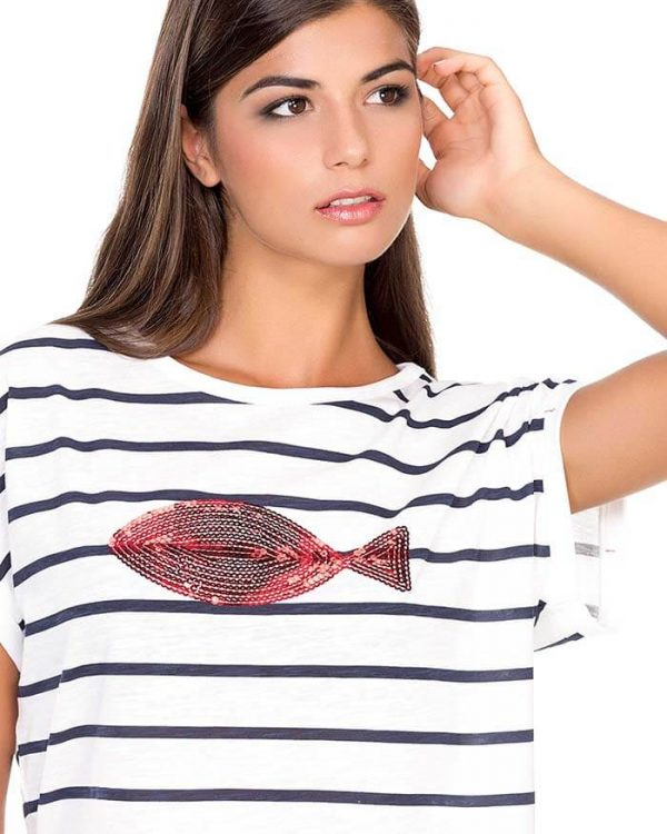 camiseta manga corta mujer corte ancho estampado rayas pez marinera naturalmente e1603997659298