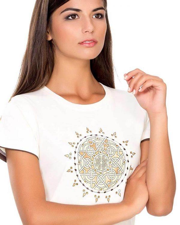 camiseta manga corta mujer entrelazado etnico dorado naturalmente e1603997626682