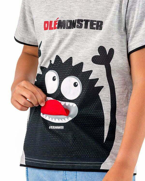camiseta infantil interactiva manga corta gris monstruo lengua fieltro LENGUGRN3