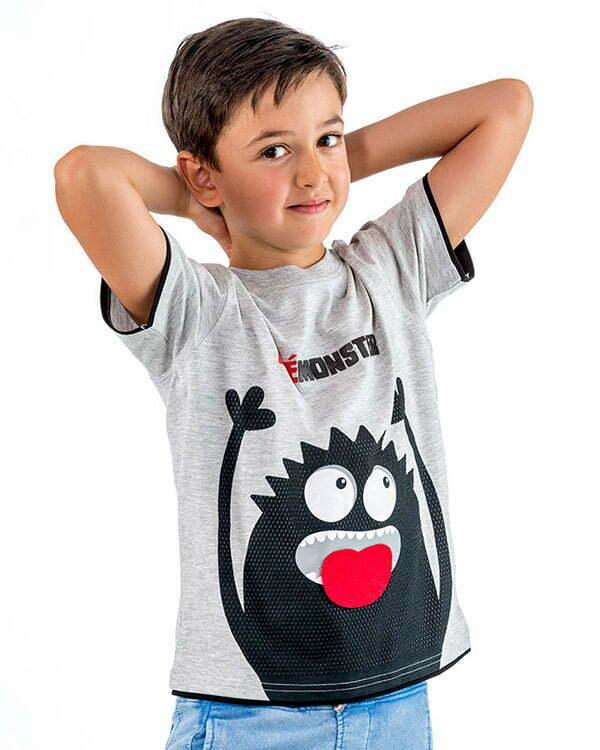 camiseta infantil interactiva manga corta monstruo gris lengua divertida monstruo LENGUGRN2