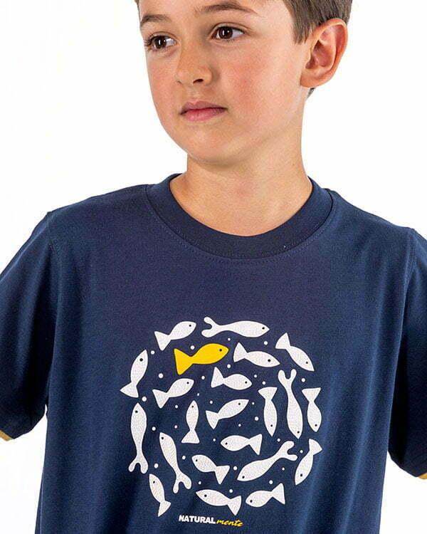 camiseta infantil manga corta azul marino peces circulo espiral relieve naturalmente NM8AZN2