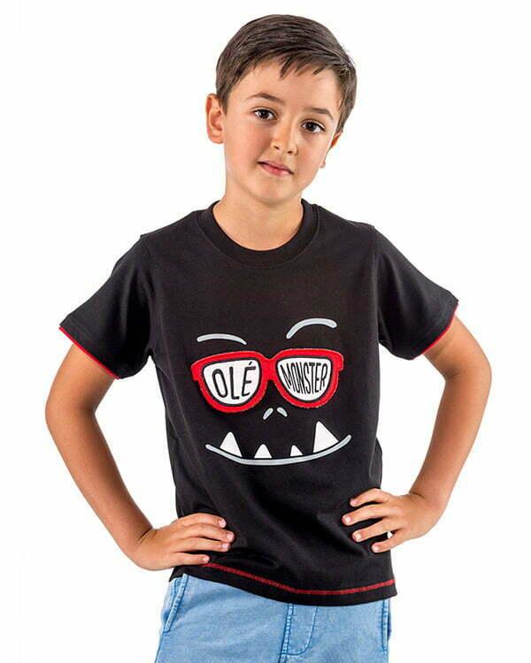 camiseta interactiva manga corta infantil negra gafas fieltro guino divertida GAFANEN1