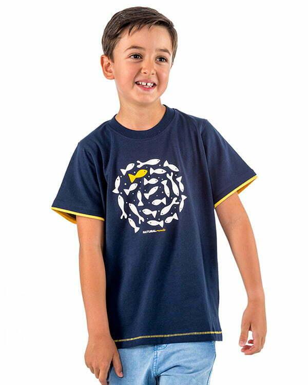 camiseta manga corta infantil azul marino peces espiral circulo relieve naturalmente