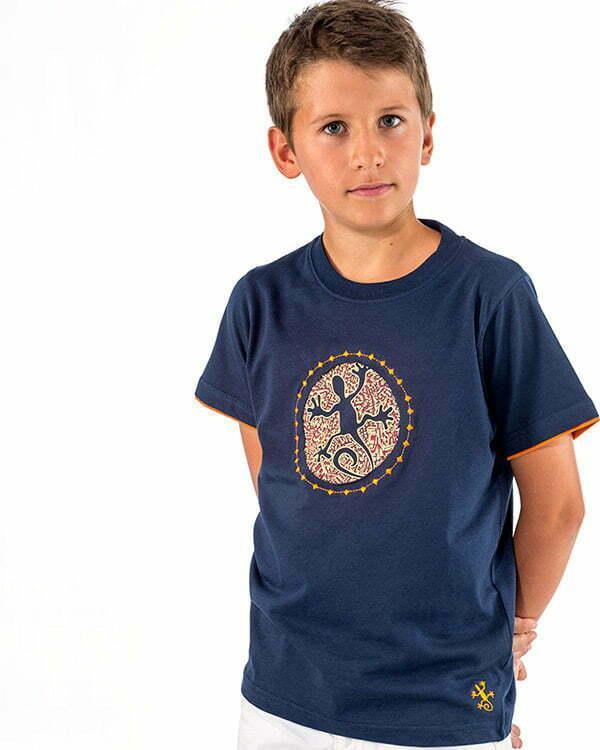 camiseta manga corta infantil azulm marino lagartto roto mosaico 45RRNEN1