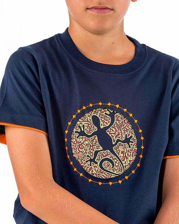 camiseta manga corta infantil lagarto gecko bordado naturalmente 45RRNEN3