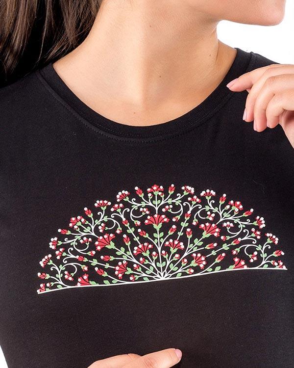 camiseta manga corta para mujer abanico flores claveles flamenco benegassi WFL4NE3
