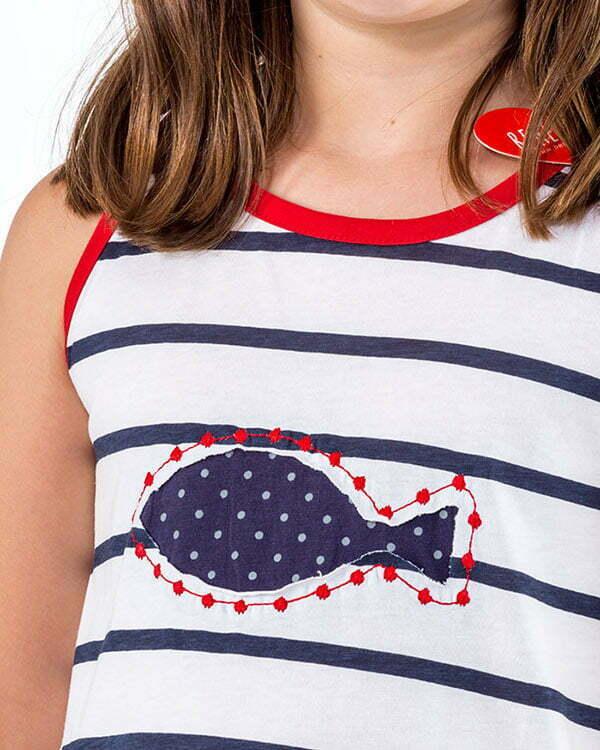 detalle pez lunares rayas marineras vestido infantil naturalmente N2BLRAVN3