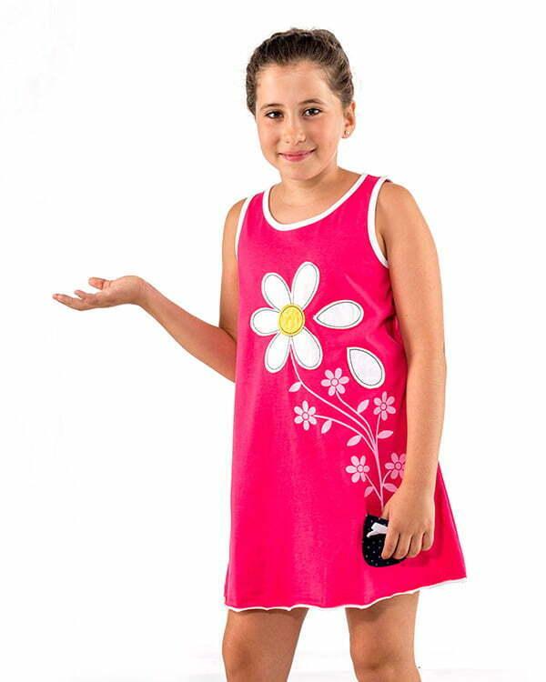 vestido infantil nina color fucsia margaritas petalos flores bolsillo lunares naturalmente N11FSVN2