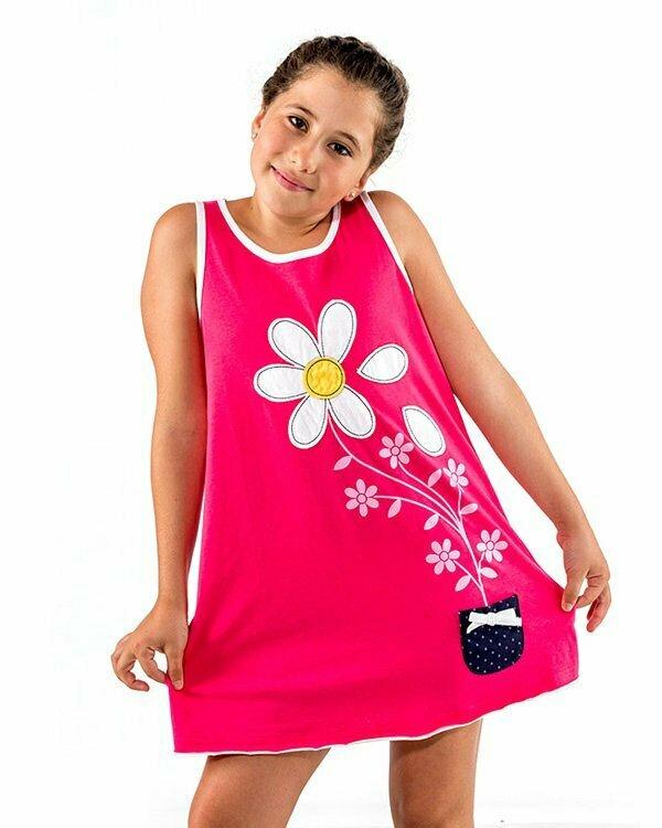 vestido infantil nina fucsia margaritas bolsillo lunares N11FSVN1 1