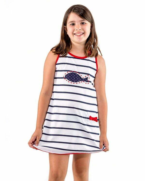 vestido infantil rayas marineras tirantas anchas pez lunares N2BLRAVNn2